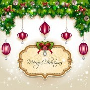 Link toChristmas frames and baubles background vector