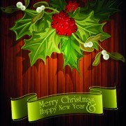 Link toChristmas green ribbon with wooden background vector