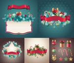 Christmas pine tree borders vector