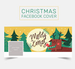 Christmas reindeer face book cover vector