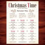 Christmas restaurant menu vector