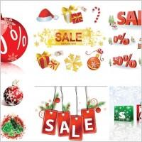 Link toChristmas sales discount decorative elements vector