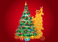 Link toChristmas tree and presents vector free