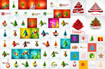 Christmas tree decoration elements vector