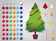 Christmas tree decorations vector free