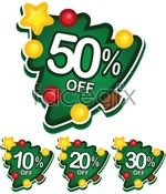 Link toChristmas tree discount labels vector
