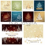 Link toChristmas tree holiday cards vector