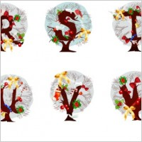 Link toChristmas tree letters 05 vector