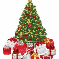 Link toChristmas tree with gifts vector illustration