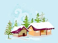 Christmas village vector free