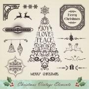 Link toChristmas vintage ornaments elements vector set 01
