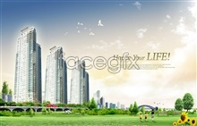 Link toCity beautiful beautiful sky grass happiness a psd
