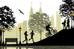 Link toCity parks people silhouettes vector