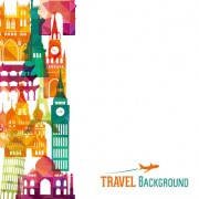 Link toClassic buildings with travel background vector 02 free
