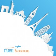 Link toClassic buildings with travel background vector 04 free