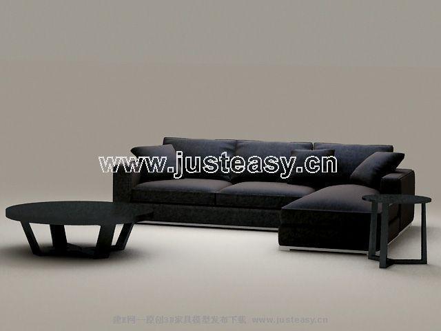 Link toClassic combination of black sofa 3d model
