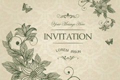 Link toClassic flower and butterfly invitation vector graphics