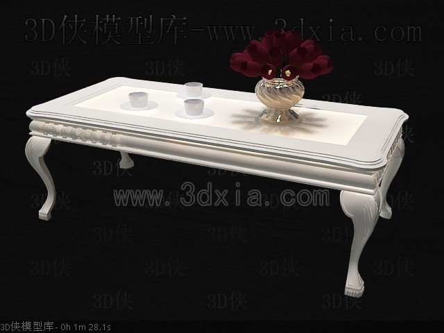 Link toClassic simple white tea table 3d model