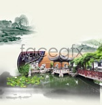 Classical garden of chinese ink painting psd