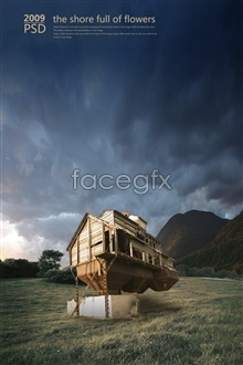 Link toCloud grass houses psd