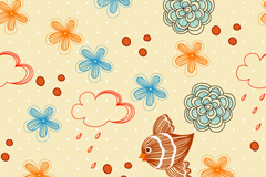 Link toClouds painted flowers vector background
