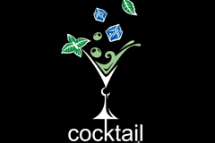 Cocktails restaurant logo design vector