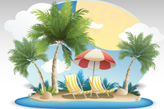 Link toCoconut summer vacation vector background
