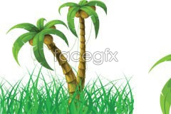 Link toCoconut trees and green grass vector