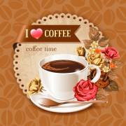 Link toCoffee cup and coffee beans pattern background vector free
