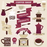 Link toCoffee menu labels and ribbon banner vector 03 free