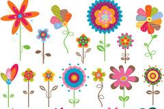 Link toColor cartoon flowers tag vector