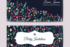 Link toColor flower party invitations cards vector illustration