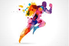 Link toColor inkjet running man vector