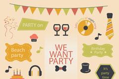 Link toColor party decorative elements vector