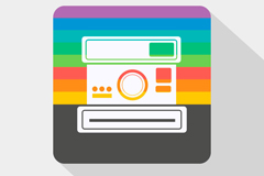 Color polaroid camera icon vector