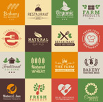 Color restaurant signs vector