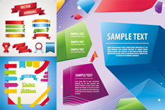 Color ribbon design abstract vector