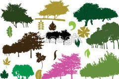 Link toColor sketch of trees and foliage vector