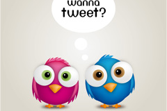 Color tweet bird vector