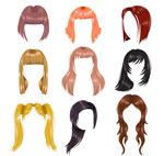 Color women's hair styles vector