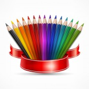 Link toColored pencils vector background set 01