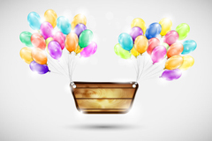 Link toColorful balloons decorated wooden sign vector