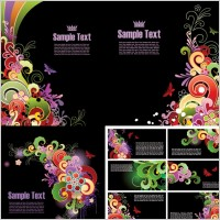 Link toColorful butterfly pattern card template vector