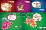 Colorful cartoon backgrounds vector