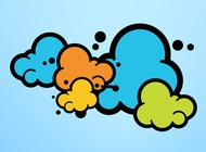 Link toColorful cartoon clouds vector free