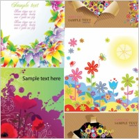 Link toColorful flower card background vector