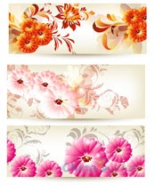 Link toColorful flower decorated banner vectors