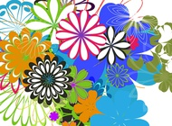 Link toColorful flowers background art vector free