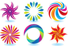 Link toColorful flowers icon vector