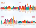 Colorful geometric city vector